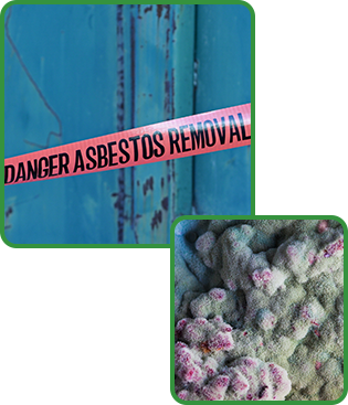 Asbestos Removal Warning Tape and Microscopic Image Of Mold